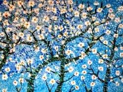 Photo dessins et illustrations, Asnans-Beauvoisin - Asnans Jura, le printemps, mosaïque émaux de Briare, 60 x36 cm.