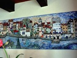Photo dessins et illustrations, Dole - DOLE Jura: le canal des tanneurs,mosaïque en émaux de Briare.