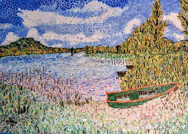 Le lac d'Ilay,mosaïque en émaux de Briare.50 x70 cm.