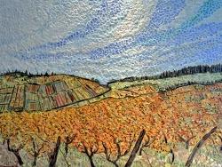 Photo dessins et illustrations, Pupillin - Tableau en émaux de briare:Les vignes de Pupillin-50 x 70 cm.