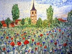 Photo dessins et illustrations, Tavaux - TAVAUX village. Jura. Mosaïque en émaux de Briare. 50 x 70 cm