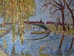 Photo dessins et illustrations, Briare - Briare -La gare d'eau,effet d'automne.40 x 60 cm.