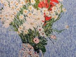 Photo dessins et illustrations, Briare - Briare mosaïque; Bouquet de glaïeuls Lys et marguerites. (  Claude Monet )