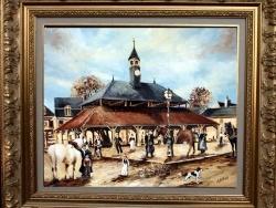 Photo dessins et illustrations, Ladon - LA HALLE DE LADON :  Tableau à l'huile réalisé par Gérard VICTOIRE (coté à Drouot)