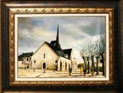 EGLISE DE LADON : MONTARGIS :  Tableau à l'huile réalisé par Gérard VICTOIRE (coté à Drouot)