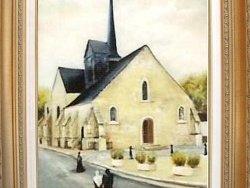 Photo dessins et illustrations, Ladon - EGLISE DE LADON Tableau à l'huile réalisé par Gérard VICTOIRE (coté à Drouot)