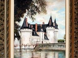 Photo dessins et illustrations, Sully-sur-Loire - TABLEAU à l'huile du CHATEAU DE SULLY réalisé par Gérard VICTOIRE