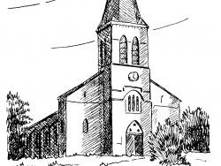 Photo dessins et illustrations, Brizeaux - Léglise de Brizeaux. (Dessin de Bernard Igier)