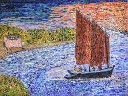 Photo dessins et illustrations, Vannes - Vannes. La maison rose.mosaïque émaux de Briare. 80x60 cm.