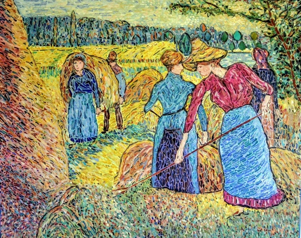 Faneuses à Eragny. (Pissarro). Mosaïque en émaux de Briare.