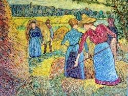 Photo dessins et illustrations, Éragny-sur-Epte - Faneuses à Eragny. (Pissarro). Mosaïque en émaux de Briare.