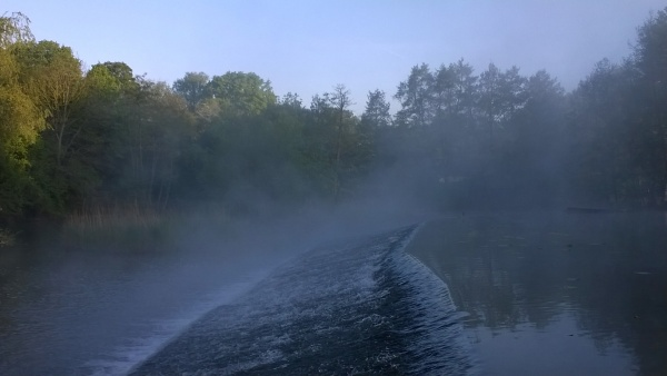 La Sarre dans la brume.