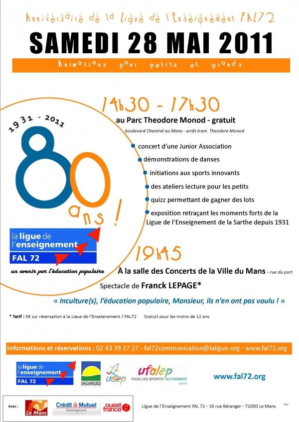 Programme des 80 ans de la Ligue de l'Enseignement FAL 72
