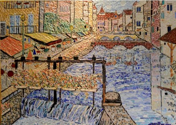 Annecy;Le Thiou-Tableau en émaux de Briare-50 x 70 cm.