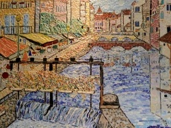 Photo dessins et illustrations, Annecy - Annecy;Le Thiou-Tableau en émaux de Briare-50 x 70 cm.
