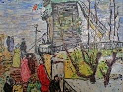 Photo dessins et illustrations, Paris - Montmartre.Le moulin de Blute-fin-mosaïque en émaux de Briare.