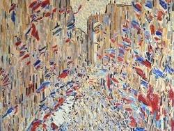 Photo dessins et illustrations, Paris - Paris - La rue Montorgueil mosaïque en émaux de Briare,influence Claude Monet.