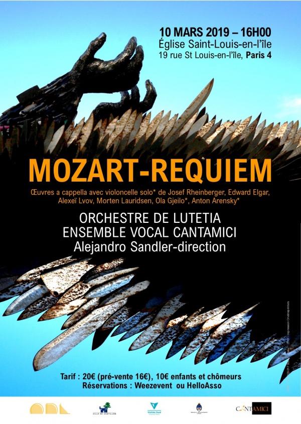 Affiche Requiem de Mozart du 10 mars 2019 à Saint-Louis-en-l'Ile