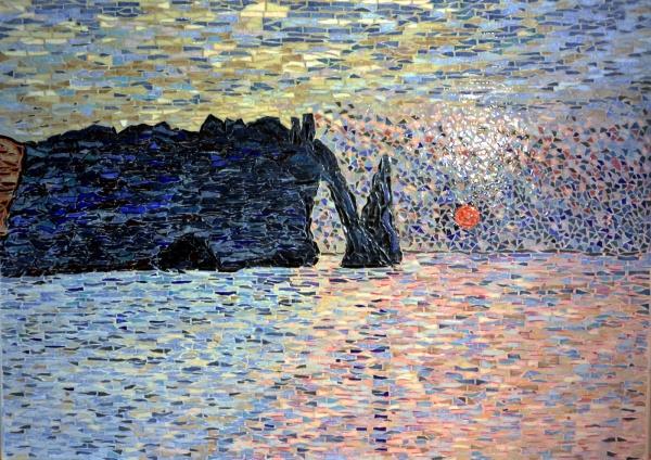 Etretat. La Manneporte. Influence Claude Monet. Mosaïque émaux de Briare.