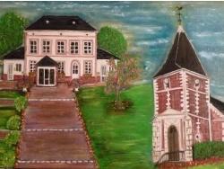 Photo dessins et illustrations, Manneville-la-Goupil - Eglise et mairie de Manneville la Goupil, huile sur toile