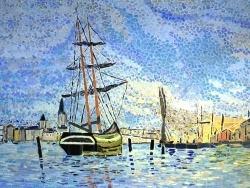 Photo dessins et illustrations, Rouen - La Seine à Rouen.Influence Claude Monet.