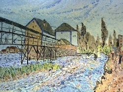 Photo dessins et illustrations, Moret-sur-Loing - Moret sur Loing.Le Moulin;Influence Alfred sisley.