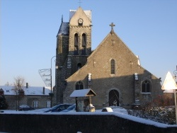 Photo paysage et monuments, Ville-Saint-Jacques - Église de ville saint Jacques sous la neige en 2009