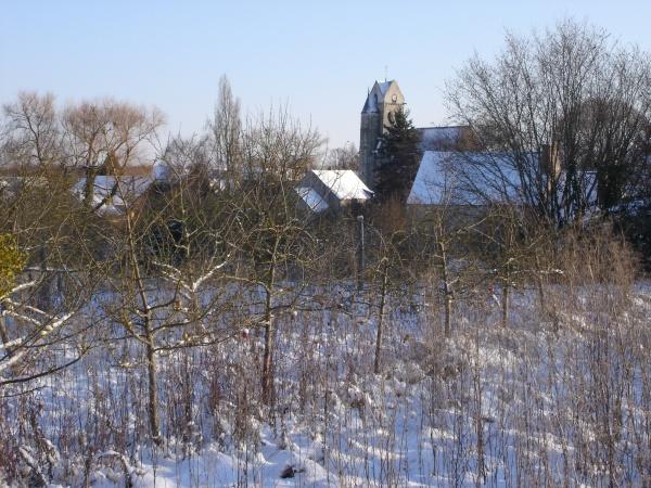 Champs et Village de Ville Saint Jacques sous la neige en 2009