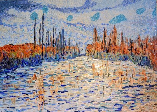 Glaçons sur la Seine à Bougival.Mosaïque en émaux de Briare. 50 x 70 cm.
