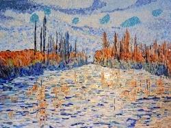 Photo dessins et illustrations, Bougival - Glaçons sur la Seine à Bougival.Mosaïque en émaux de Briare. 50 x 70 cm.