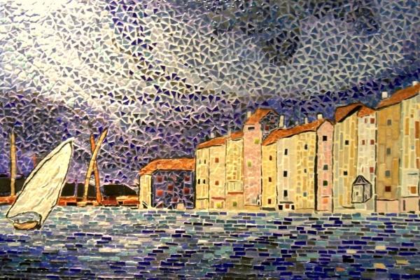 Mosaïque;L'orage à Saint-Tropez;Inluence,Paul Signac.