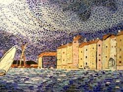 Photo dessins et illustrations, Saint-Tropez - Mosaïque;L'orage à Saint-Tropez;Inluence,Paul Signac.