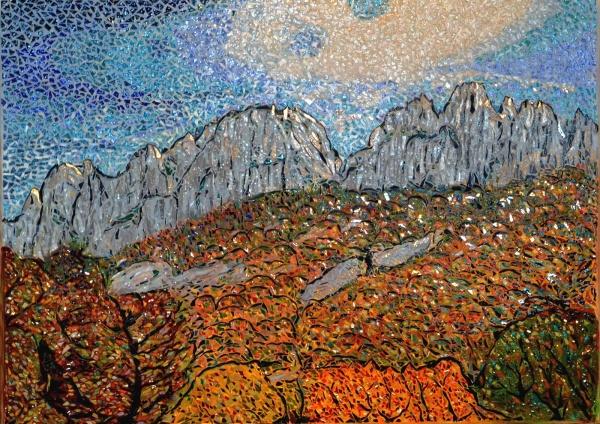 Les dentelles de Montmirail. Mosaïque en émaux de Briare. 50 x70 cm