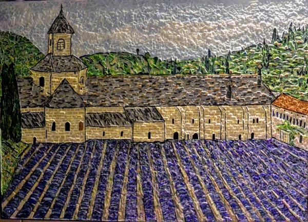 Gordes,Abbaye de Sénanque. Mosaïque émaux de briare. 50 x 70 cm.