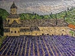 Photo dessins et illustrations, Gordes - Gordes,Abbaye de Sénanque. Mosaïque émaux de briare. 50 x 70 cm.