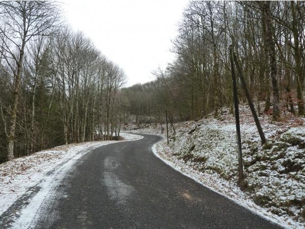 février 2015 Neige en montant à Jabreilles Les Bordes, vélo