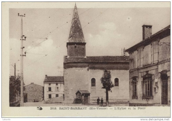 Photo Saint-Barbant - l'eglise et laposte