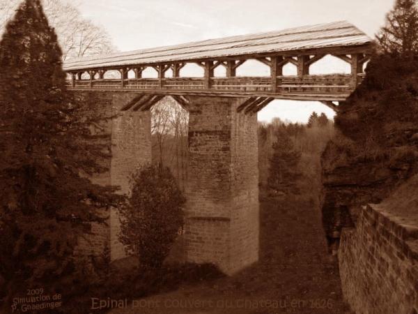 Photo Épinal - Figuration perso du pont couvert du château d'Epinal en 1626