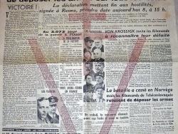 Ouest France du 8 mai 1945 – Capitulation de l'Allemagne
