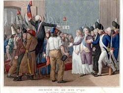 Journée du 20 juin 1792. Confrontation entre les insurgés et Louis XVI