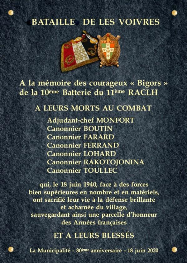 Photo Les Voivres - Plaque commémorative