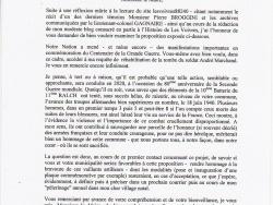 Lettre à M. le Maire de Les Voivres
