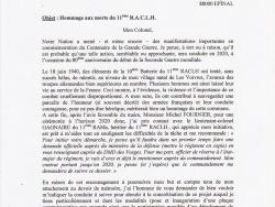 Lettre au Délégué Militaire Départemental des Vosges