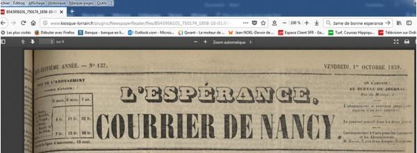 """""""L'Espérance, courrier de Nancy"""""""