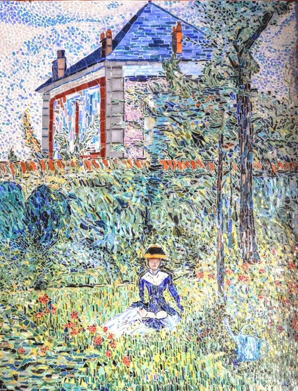 Meudon bellevue. Jeune fille au jardin. Mosaïque émaux de Briare.