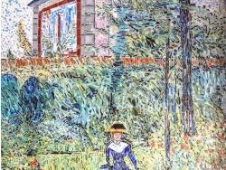 Photo dessins et illustrations, Meudon - Meudon bellevue. Jeune fille au jardin. Mosaïque émaux de Briare.