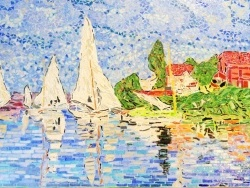 Photo dessins et illustrations, Argenteuil - Régates à Argenteuil.Influence,Claude Monet.