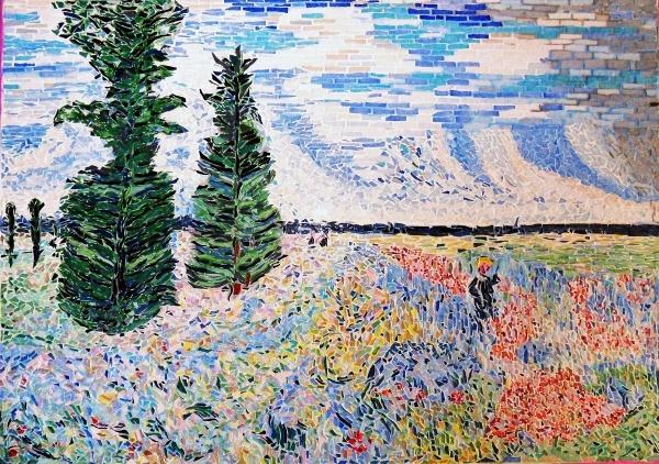 Photo Argenteuil - Les coquelicots,environs d'Argenteuil.Mosaïque,influence Claude Monet.