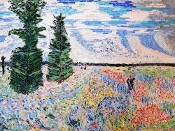 Photo dessins et illustrations, Argenteuil - Les coquelicots,environs d'Argenteuil.Mosaïque,influence Claude Monet.