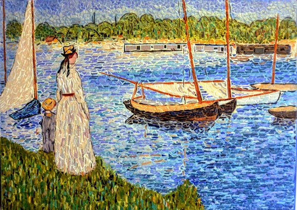 Photo Argenteuil - La Seine à Argenteuil,influence Edouard Manet.Mosaïque en émaux de Briare.